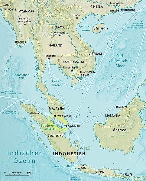 Lage der Straße von Malakka im Hauptschifffahrtsnetz