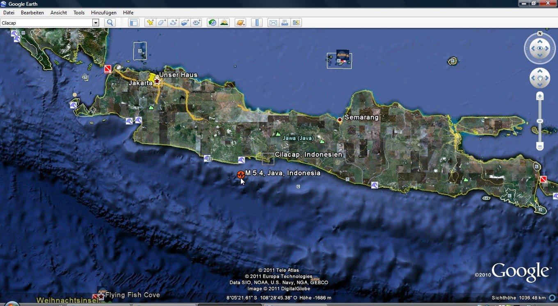 Lage des Epizentrums des Bebens Foto: Google Earth