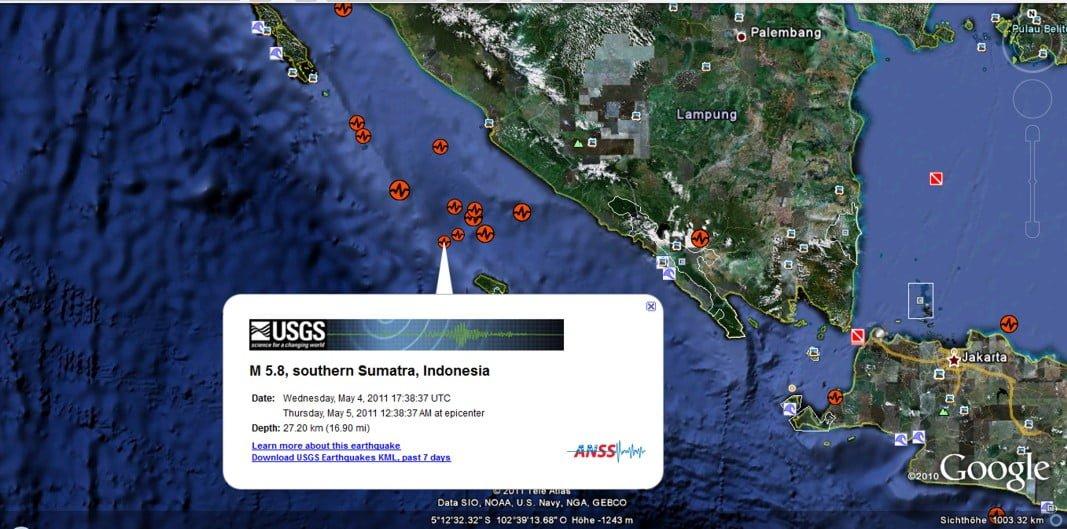 Süd Sumatra kommt nicht zur Ruhe Grafik: Google Earth