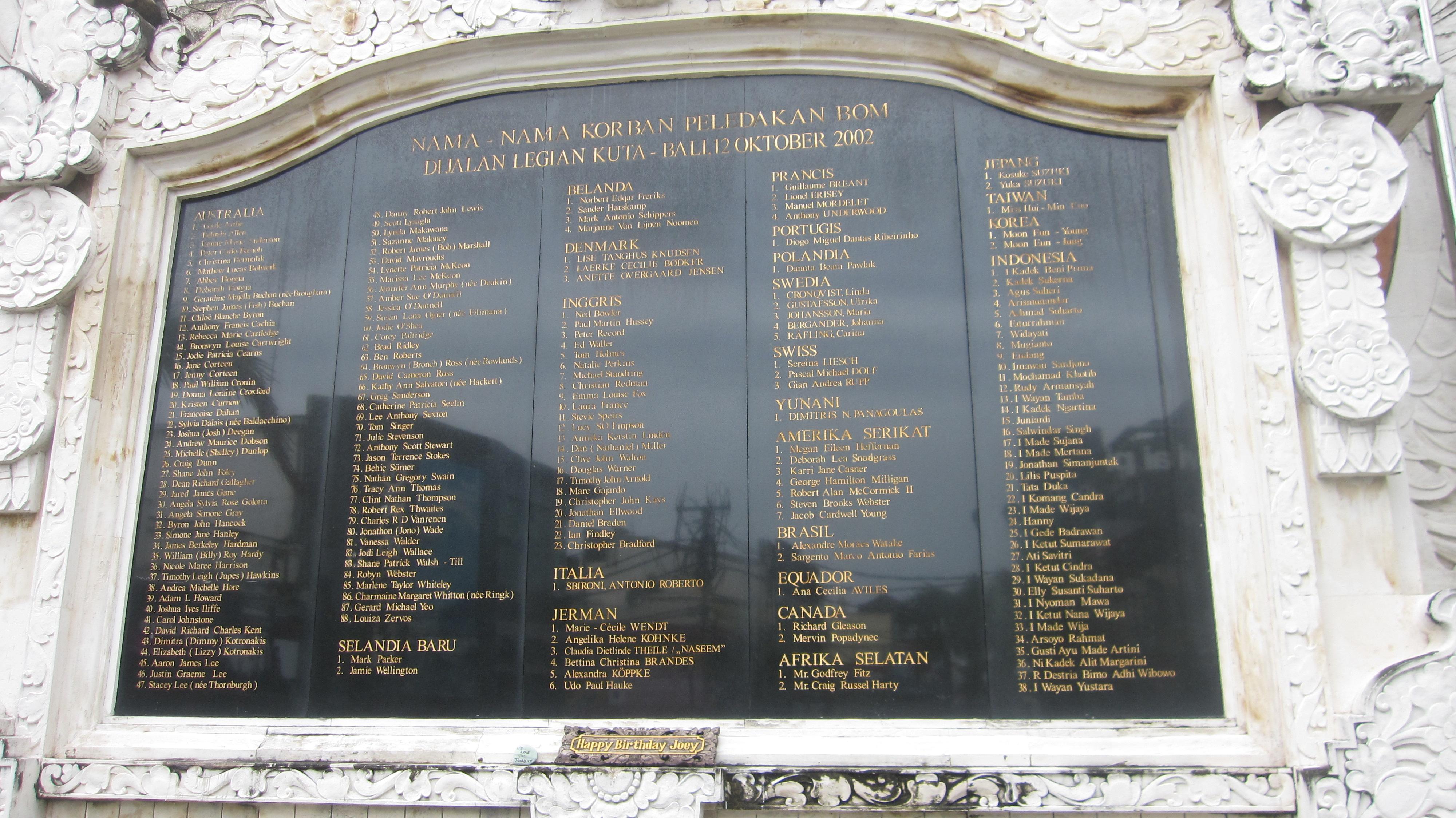 Die Gedenktafel mit den Namen der Opfer des Terroranschlages
