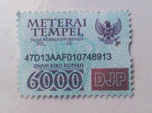 Materai - Marke bekommt man bei der Post oder in einigen Geschäften. Diese wird bei Verträgen und Amtlichen Formularen immer benötigt