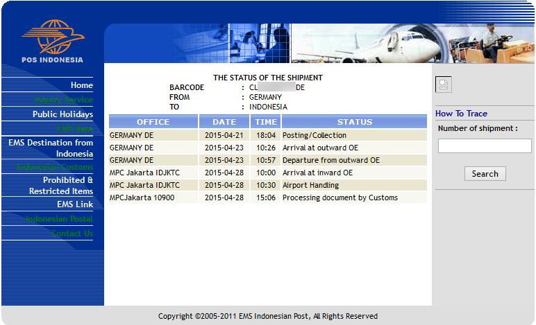 Die Abfrage von Paketsendungen erfolgt über den Link: ems.posindonesia.co.id