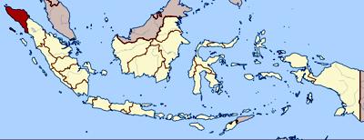 Lage von Aceh in Indonesien