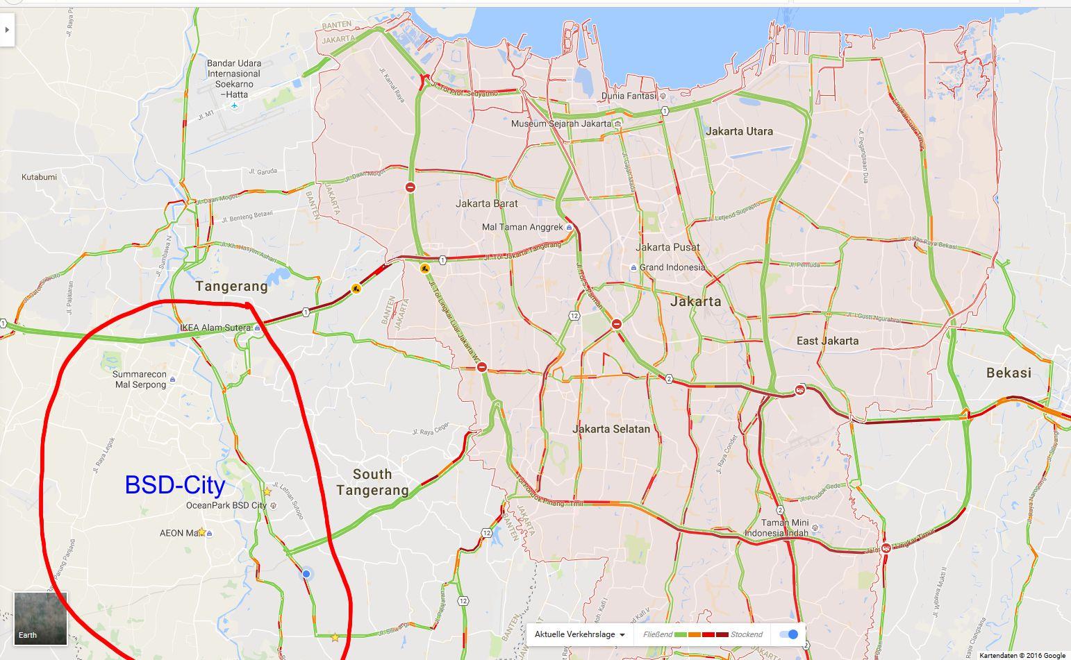 Lage und Verkehr von BSD-City
