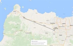 Entfernung zwischen BSD und Serang / Screenshot Google Maps