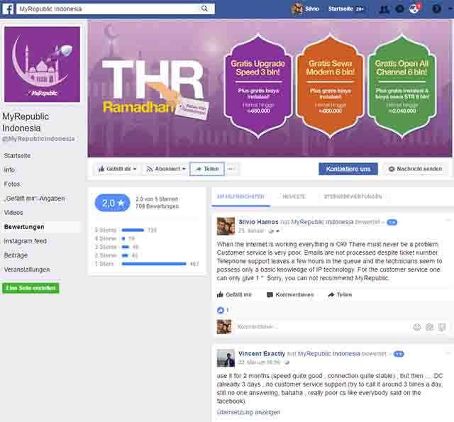 Facebook - Bewertungsprofil von MyRepublic / Screenshot Facebook