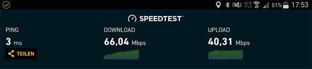 Speedtest MyRepublic mit Galaxy Pad über WLan 11.06.2017