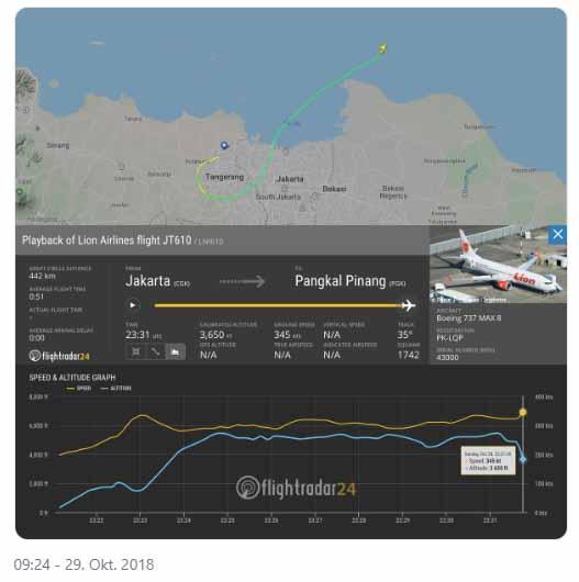 Flugzeug vor der Küste Jakarta abgestürzt / Screenshot Twitter: Flightradar24