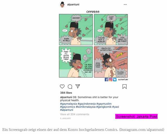 Instagram unterstützt indonesische Homophobie / Screenshot: Jakarta Post