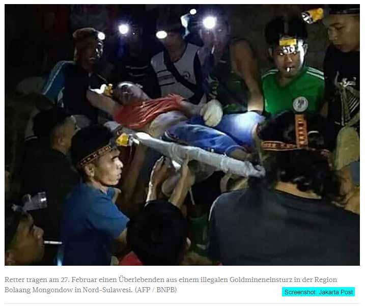 Illegale Goldmine in Nordsulawesi eingestürzt Screenshot Jakarta Post